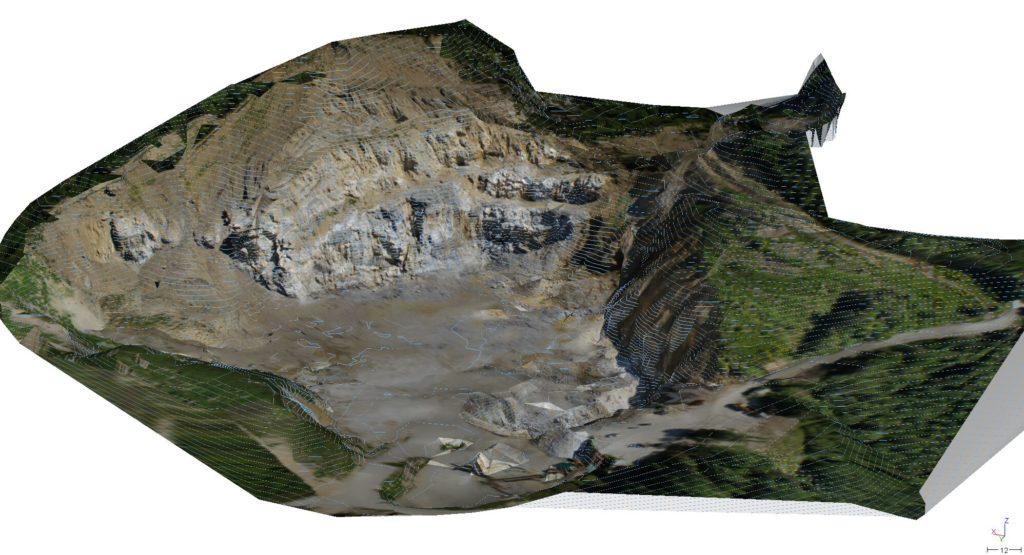 Rilievo combinato di una cava - rilievo laser scanner, rilievo gps e rilievo drone. GEOLOGO