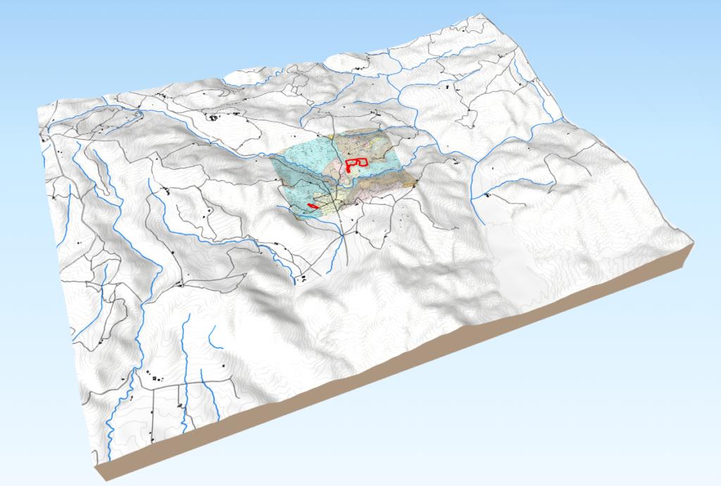 MODELLO 3D DELLA CARTA TOPOGRAFICA A CURVE DI LIVELLO E CARTA GEOLOGICA - AZIENDA AGRICOLA - GEOLOGO