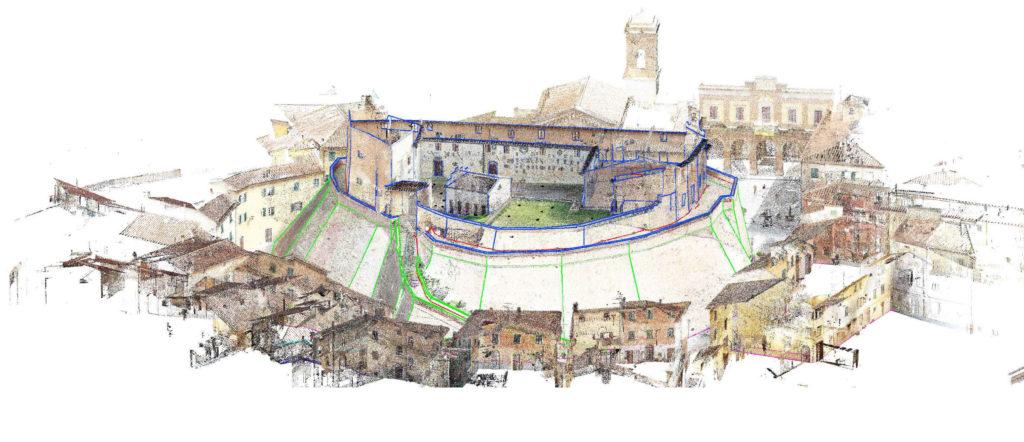 rilievo laser scanner 3d proeco del castello di lari, nuvola di punti e modello cad 3d