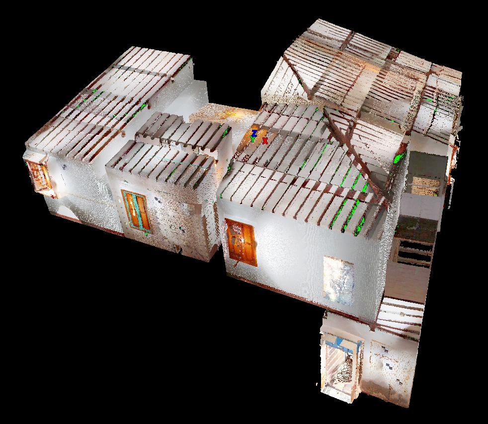 nuvola di punti in colori reali da rilievo laser scanner 3d proeco relativa ad un appartamento