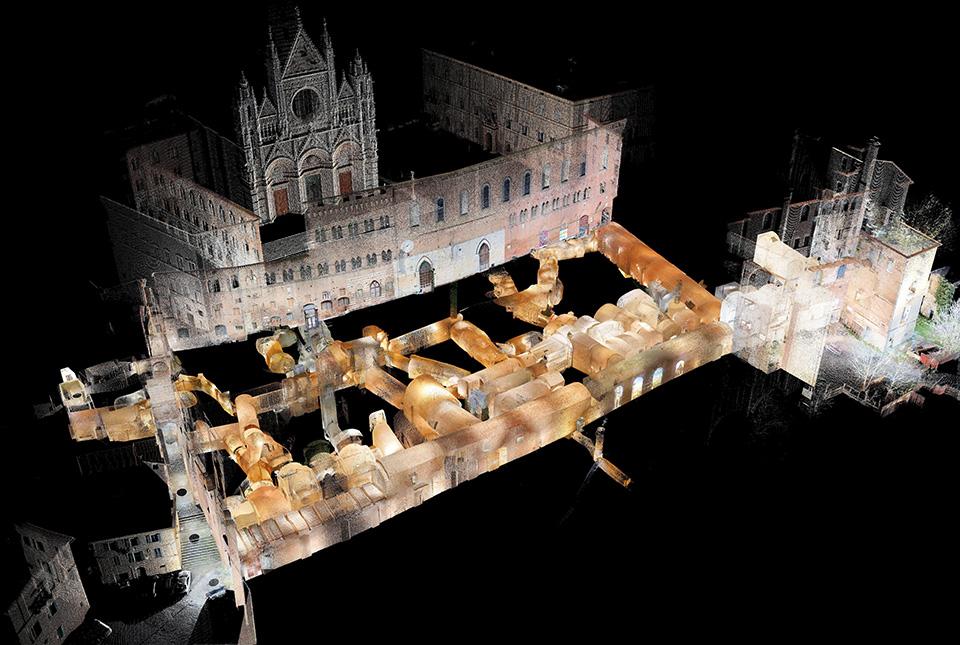 vista della nuvola di punti del rilievo laser scanner 3d del museo archeologico del complesso museale del santa maria della scala - siena