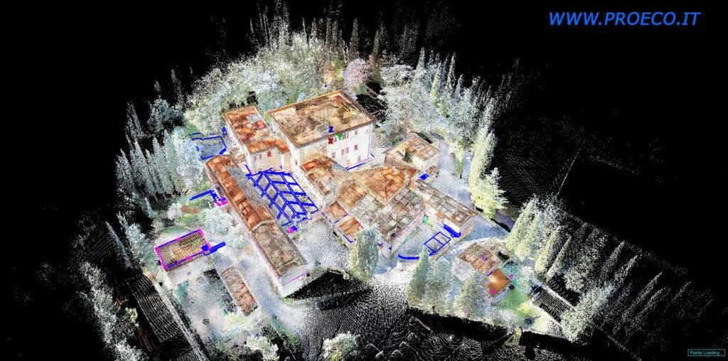 rilievo laser scanner e gps per piano quotato di un complesso edilizio