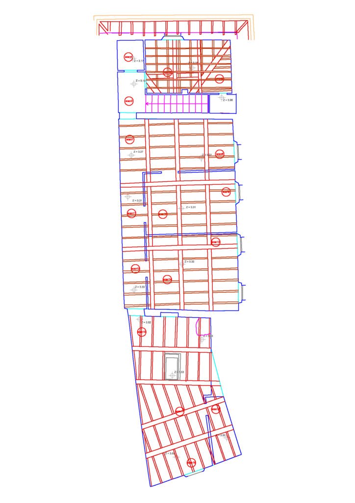 redazione di piante dei pavimenti e dei soffitti mediante rilievo laser scanner 3d proeco