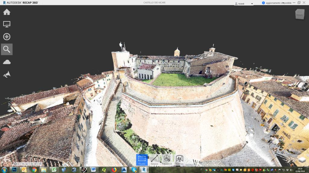 rilievo laser scanner 3d castello di lari modello cad 3d proeco