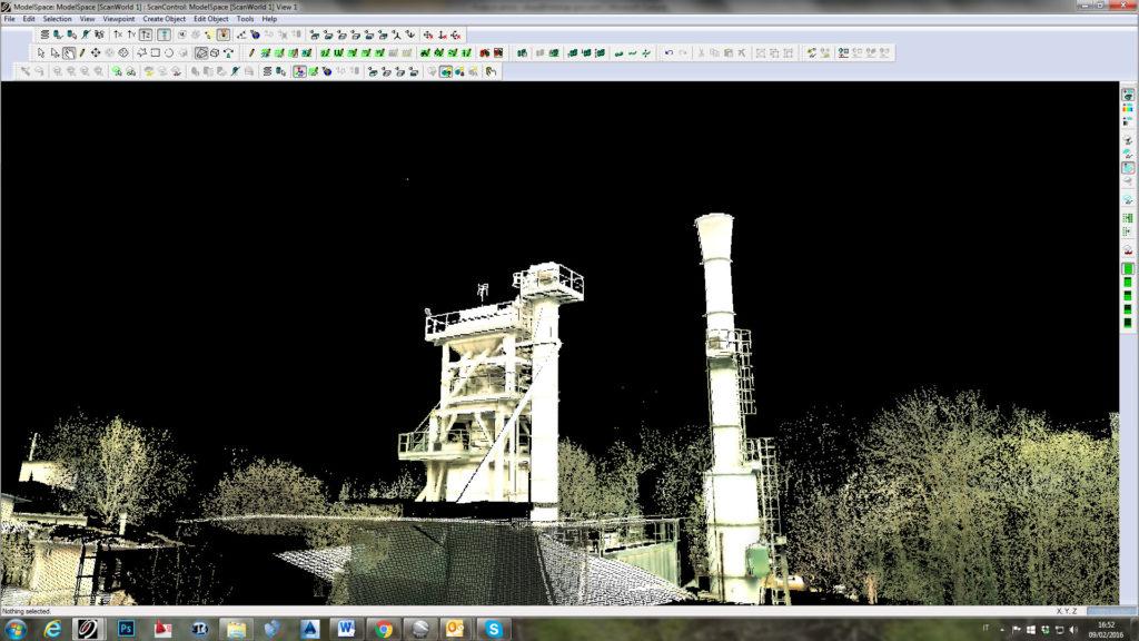 rilievo laser scanner nel settore industriale e redazione di piante e del piano quotato
