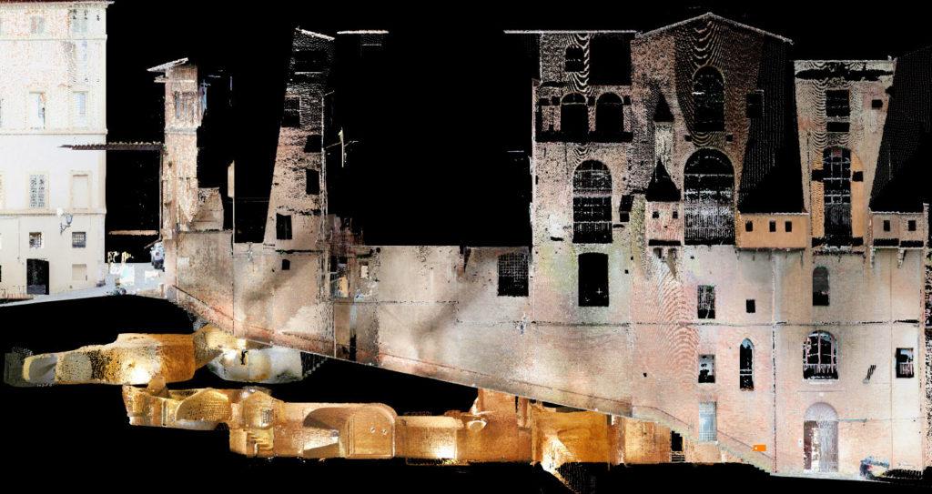 nuvola di punti del rilievo laser scanner del museo archeologico del santa maria della scala a siena
