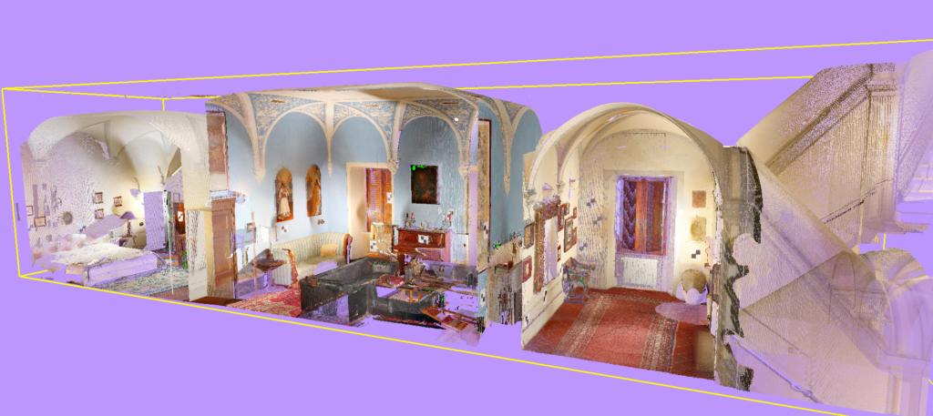 sezione di un piano di una villa ottenuta da rilievo laser scanner 3d nel settore architettonico proeco