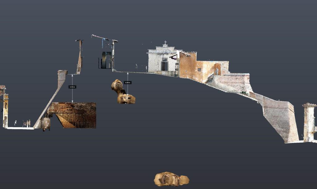 sezione della nuvola di punti relativa al rilievo laser scanner del castello di lari proeco