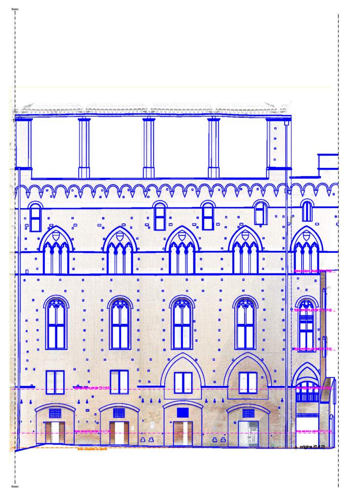 l'immagine mostra l'elaborato CAD relativo al Prospetto sud del palazzo Comunale di Siena e la relativa nuvola di punti ottenuta da rilievo laser scanner 3d