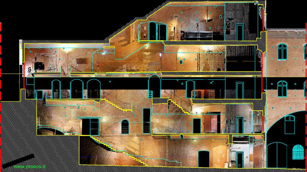 l'immagine mostra l'elaborato CAD relativo ad una scala interna di un palazzo e la relativa nuvola di punti ottenuta da rilievo laser scanner 3d